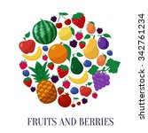 fruits and berries flat style... | Shutterstock . vector #342761234