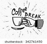 retro coffee break crafted... | Shutterstock .eps vector #342761450