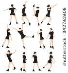 silhouette of a dancing woman... | Shutterstock . vector #342762608