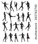 silhouette of a dancing woman... | Shutterstock . vector #342762740