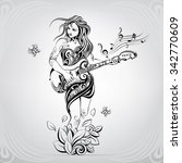 girl with the guitar in the... | Shutterstock .eps vector #342770609
