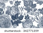 Stock vector vintage vector seamless pattern black and white illustration with roses and spring flowers floral 342771359