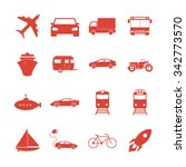 transportation icons. flat... | Shutterstock .eps vector #342773570