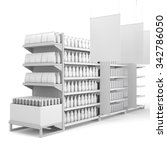 set of supermarket shelves with ... | Shutterstock . vector #342786050