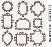set of black vintage frames ... | Shutterstock .eps vector #342788543