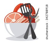 menu concept with food icons... | Shutterstock .eps vector #342788918