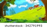 cartoon background of old... | Shutterstock . vector #342791993