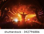 dj hands up with crowd of... | Shutterstock . vector #342796886