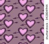 hand drawn heart retro set ... | Shutterstock .eps vector #342804944