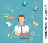 call center man technical... | Shutterstock .eps vector #342806774