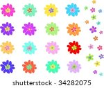 mix of two types of flowers...   Shutterstock .eps vector #34282075