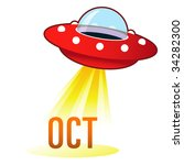 October Calendar Month Icon On...