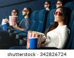 she loves 3d movies. cheerful... | Shutterstock . vector #342826724