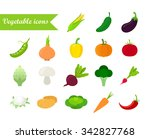 vegetables icon set. flat... | Shutterstock .eps vector #342827768