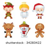 Vector illustration - Christmas characters icon set - stock vector