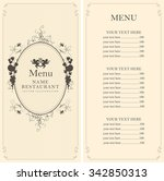 menu with floral ornaments with ... | Shutterstock .eps vector #342850313