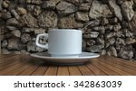 coffee cup and saucer on a...   Shutterstock . vector #342863039