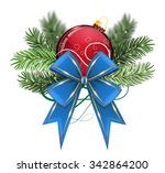 red christmas ball with blue...   Shutterstock .eps vector #342864200