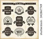 vintage sale labels set.... | Shutterstock .eps vector #342867749