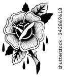 roses tattoo sketch doodle... | Shutterstock .eps vector #342869618