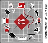 quilting stickers for diy... | Shutterstock .eps vector #342875150