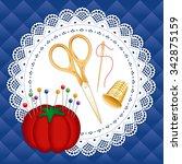 gold vintage sewing set ... | Shutterstock .eps vector #342875159