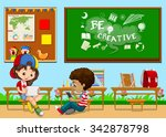 students learning in the... | Shutterstock .eps vector #342878798