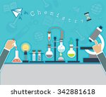 chemists scientists equipment.... | Shutterstock .eps vector #342881618