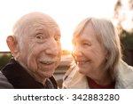happy elderly couple joking... | Shutterstock . vector #342883280