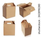 cardboard box with handle... | Shutterstock . vector #342898280