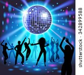 silhouettes of a party crowd on ... | Shutterstock .eps vector #342899588
