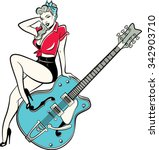 rockabilly pinup girl sitting... | Shutterstock .eps vector #342903710