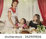 mother with her two daughters... | Shutterstock . vector #342909836