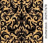 floral golden wallpaper | Shutterstock .eps vector #342917678