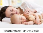 beautiful woman and her son... | Shutterstock . vector #342919550