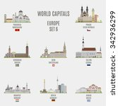 world capitals. famous places... | Shutterstock .eps vector #342936299