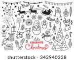 christmas doodle set of... | Shutterstock .eps vector #342940328