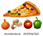 slice of pizza and ingredients...