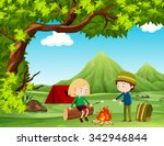 boy and girl camping out in the ... | Shutterstock .eps vector #342946844