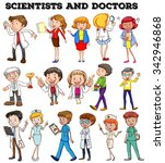 people working as scientists... | Shutterstock .eps vector #342946868