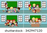 children working in the... | Shutterstock .eps vector #342947120