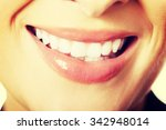 close up on woman white teeth. | Shutterstock . vector #342948014