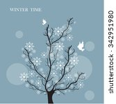 snowflakes winter tree | Shutterstock .eps vector #342951980