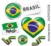 collection of brazil icons and... | Shutterstock .eps vector #342952028