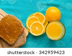 good morning with orange juice  ... | Shutterstock . vector #342959423