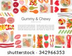 various jelly candies on white... | Shutterstock . vector #342966353