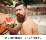 bearded man without clothes... | Shutterstock . vector #342970550