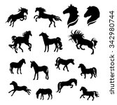 horse big set of black... | Shutterstock .eps vector #342980744