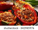 stuffed peppers with vegetables ... | Shutterstock . vector #342985976