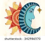 colorful sun and blue moon... | Shutterstock .eps vector #342986570